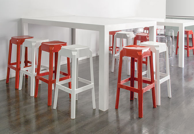 Plastic kitchen stools and tables in red and white