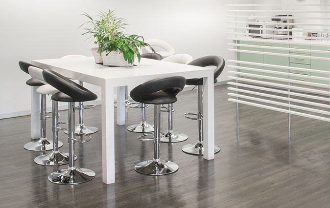 Chrome and leather office kitchen snack chairs