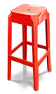Red plastic kitchen stools