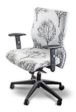 Boardroom chair, in white fabric with tree design