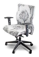 Boardroom chair in white fabric tree design
