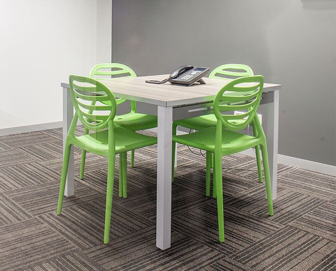 Green cubical chairs
