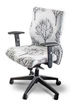 General manager chair in white fabric with tree design