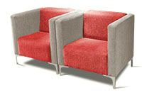 Kitchen couches in corporate grey and red