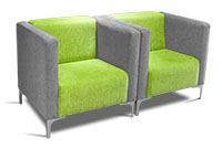 Reception couches, covered in Transnet corporate grey and green fabric