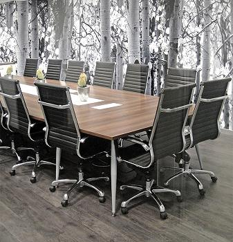 Wood and Chrome Boardroom Table Image