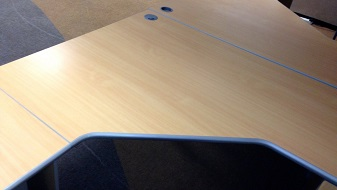 Open plan cluster desk tops