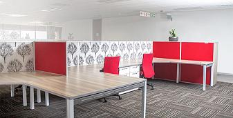 Red open plan cluster desk and chairs