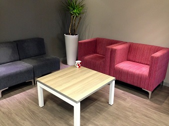Couches with server table