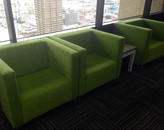 Green waiting room seating