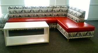 L-shape relax couch with red, black and white fabric