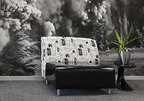 Reception waiting area fabric and vinyl couch with wall art background and small server table