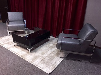Gray fabric and chrome waiting area couches
