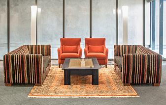 Waiting area couches with wood and glass server