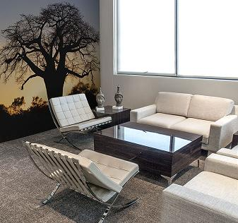 White leather couches with server table