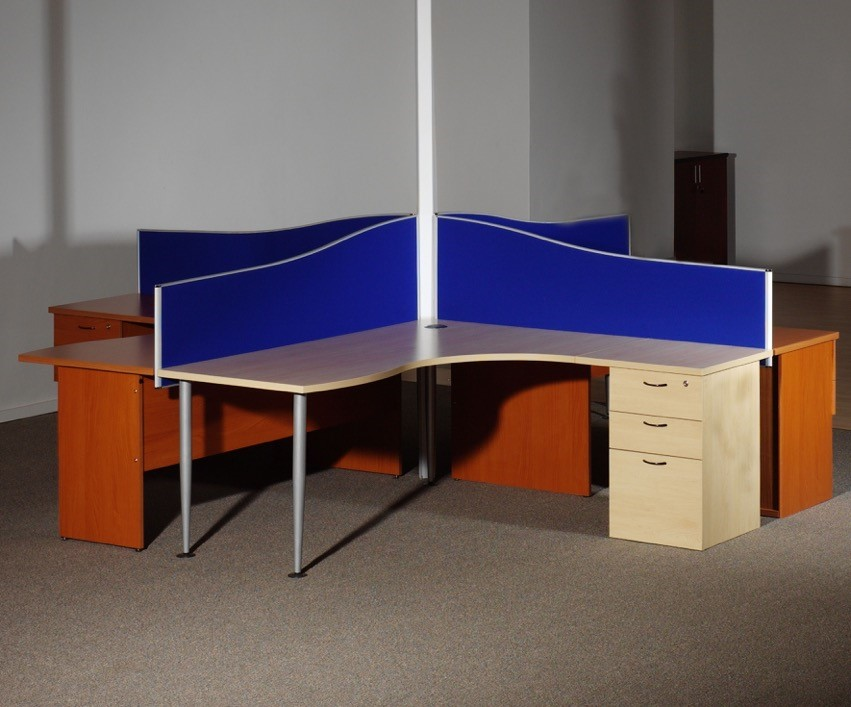 4 Way Cluster Desk with Central Power Image