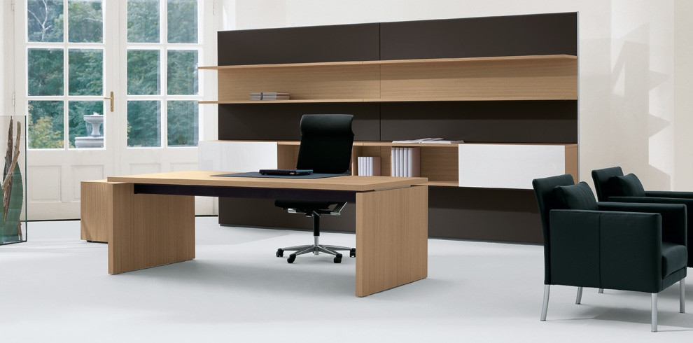 Executive Workstation Harvard Light Veneer or Laminate Panel Leg desk with Two Tone Black and Harvard Light Storage Image
