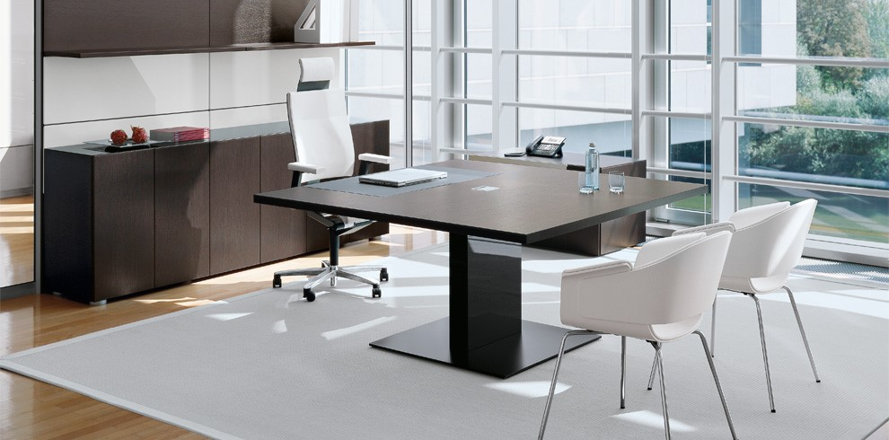 Executive desk 1 Executive Square Table with combination Conference Facility Dark Veneer with black square pedestal base Image