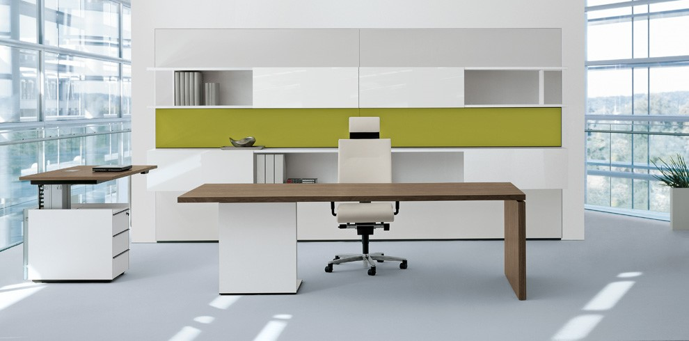 Middle Management two tone square edge panel desk with suspended pedestal base standing height adjustable desk with pedestal Image