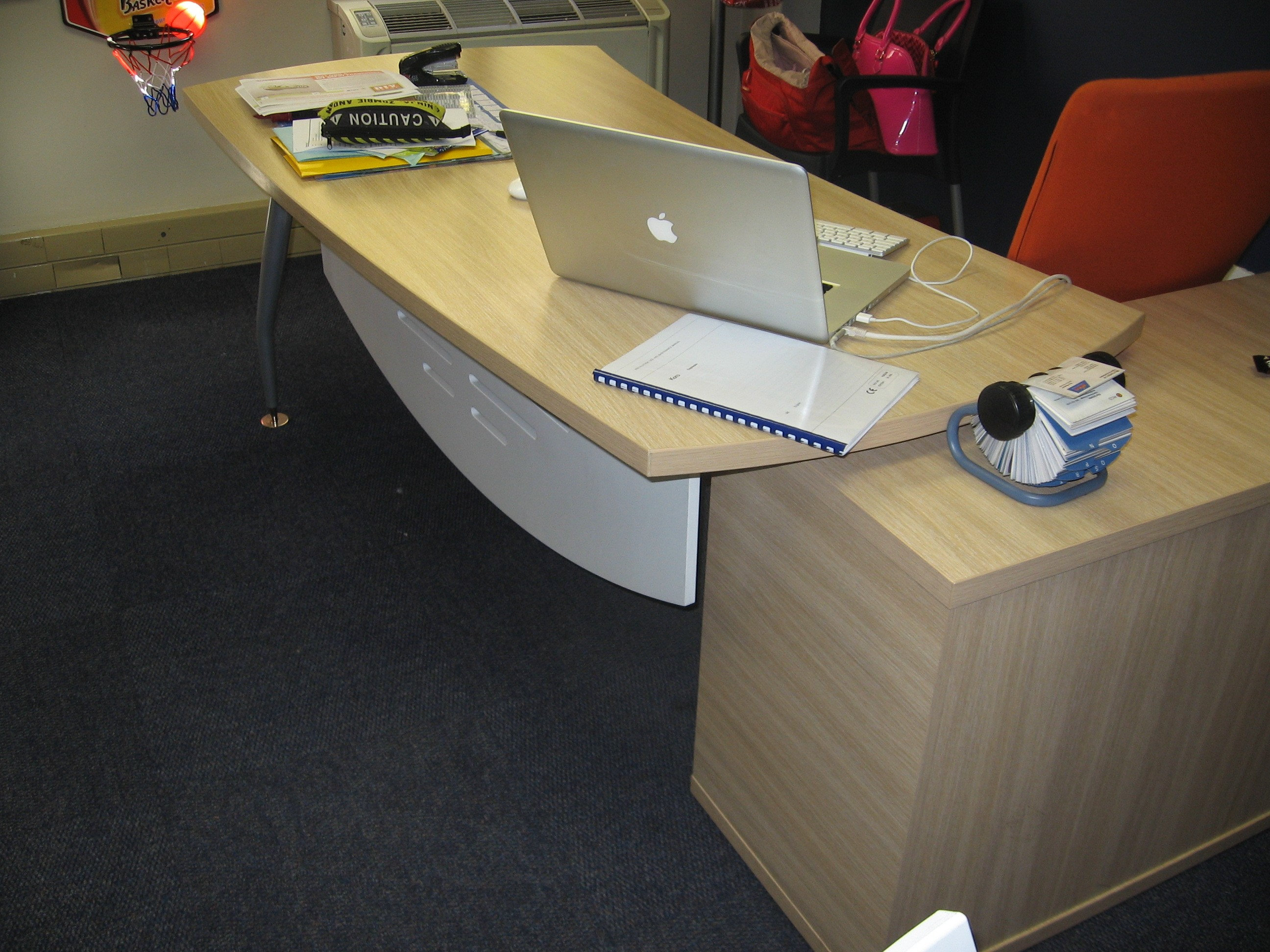 Beech Desk with curved front end and white modesty panel Image