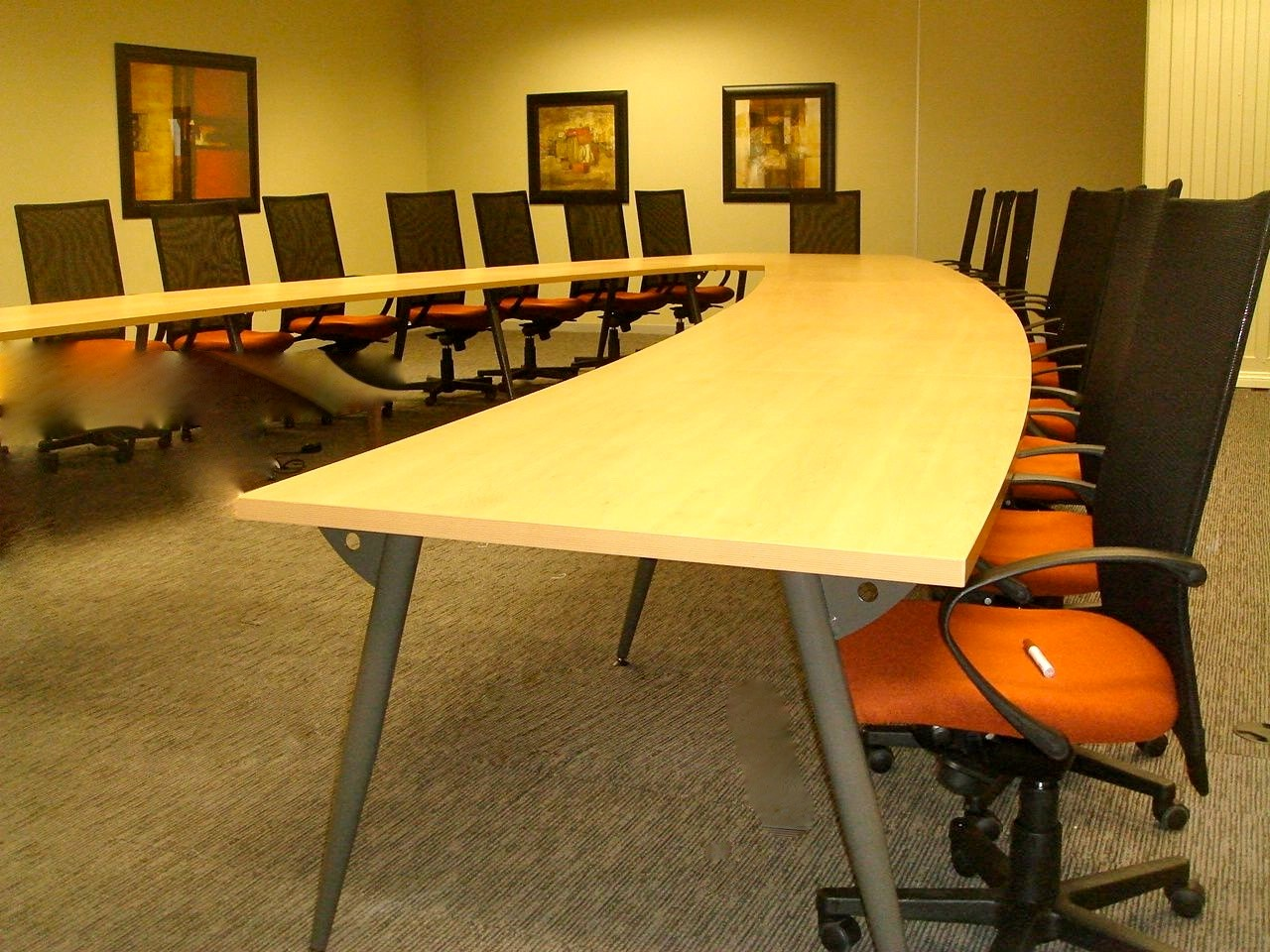 Beech Laminate Conference Boardroom Table with Swagged Legs Image