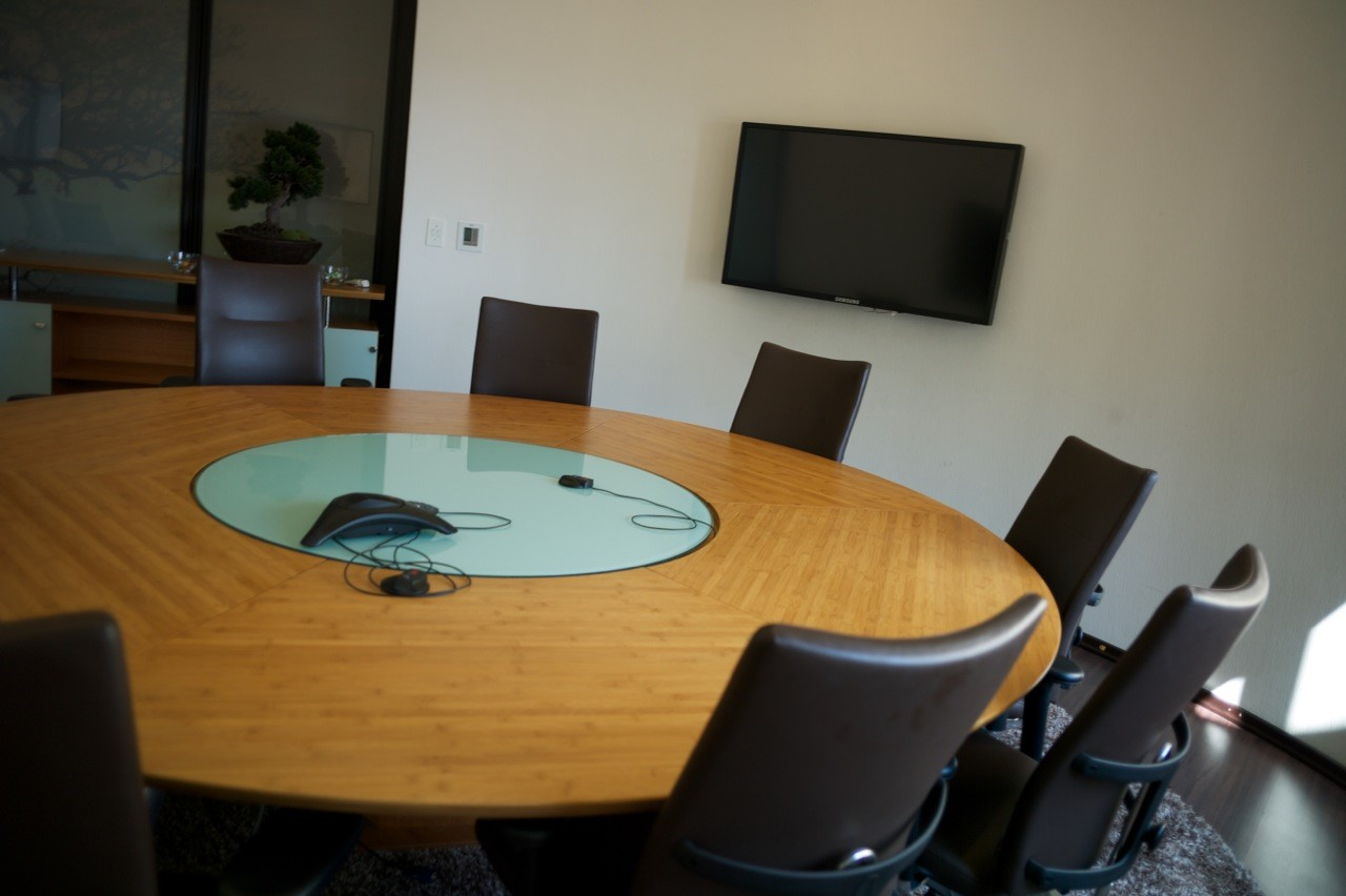 Boardroom table Bamboo Round Boardroom Table with glass insert [housing cables under glass] with audio visual Image