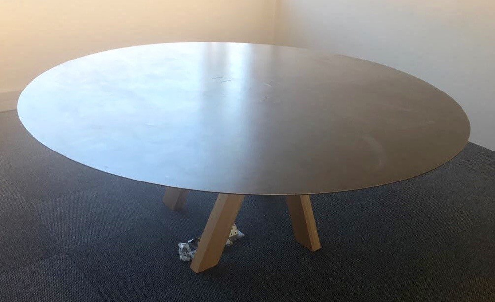 Polished Concrete Boardroom Round Table with Wooden base Image