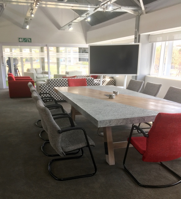 Boardroom Table Concrete with Wooden Diagonal Center and Wooden Trestles Image