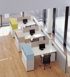 Desk with side storage units acting as privacy panel Image
