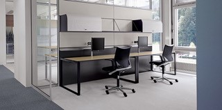Desks with Steel Open Square supports and Mobile pedestals Image