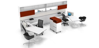 Desks with curved corners including mobile storage.. Image