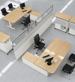 Desks with curved corners including mobile storage Image