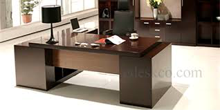 Executive Desk with double pedestals and side L-piece including back wall cabinets made in Mahogany Veneer Image