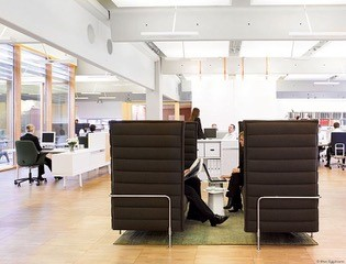 High padded sides to these couches providing privacy for quick meetings Image