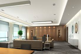 Reception areas made to suit the space including flush plastered ceilings, bulkheads and lighting Image