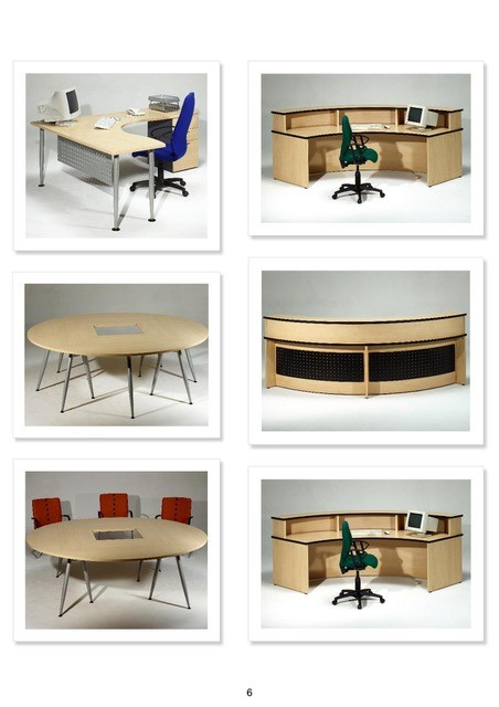 Reception unit curved, made up in Beech Laminate. Round table with tapered legs in silver with square central hole Image