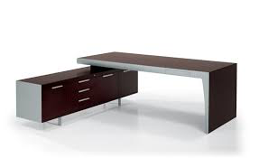 Two Tone Executive Desk with one Side Leg and L-Shaped Storage including drawers and cupboards Image