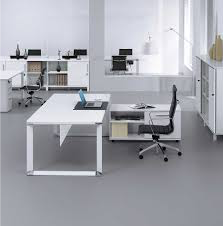 White Desks including Open Square Base with Side Storage in White Image