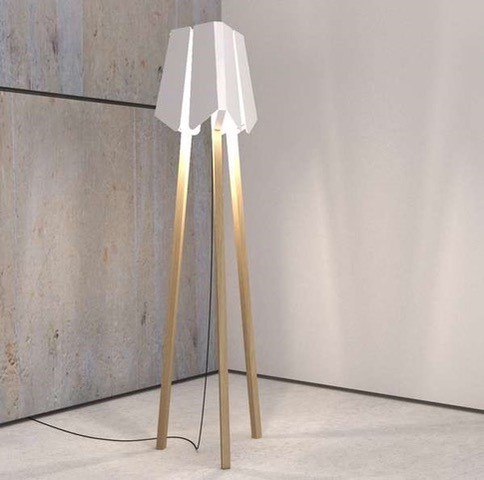 White and Beech Lampstand Image