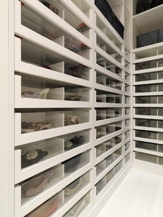 Bedroom Closet and Walk in area shopfitted - glass drawer fronts for easy retrieval. Image
