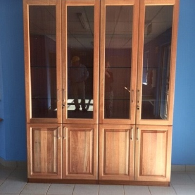 Administration display cabinet with glass doors