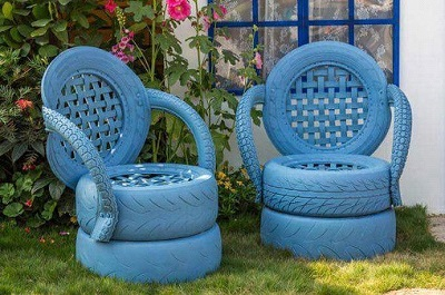 Outdoor tyre furniture for schools - blue