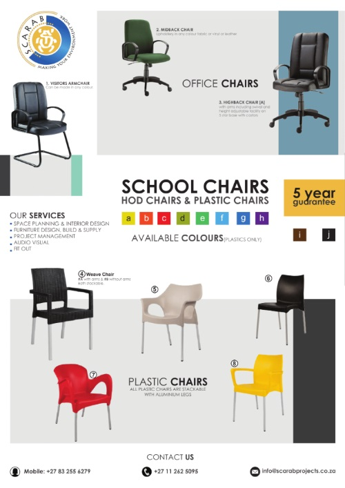 Plastic chairs and HOD chairs