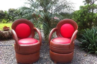 Red two seater outdoor tyre furniture