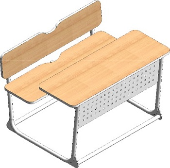School exam table with bench