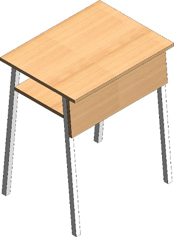 School exam table with storage