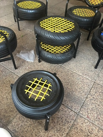school tyre seating and side tables