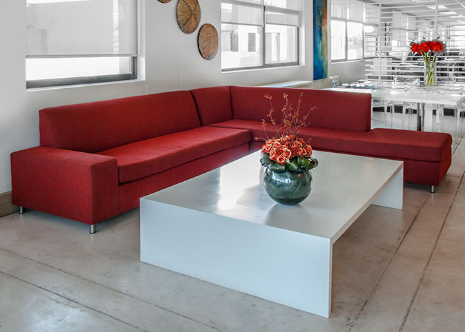 Reception couch with cemcrete floor treatment