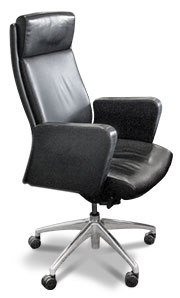 Black leather boardroom chair