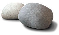 Soft chairs designed to look like giant pebbles for pub room